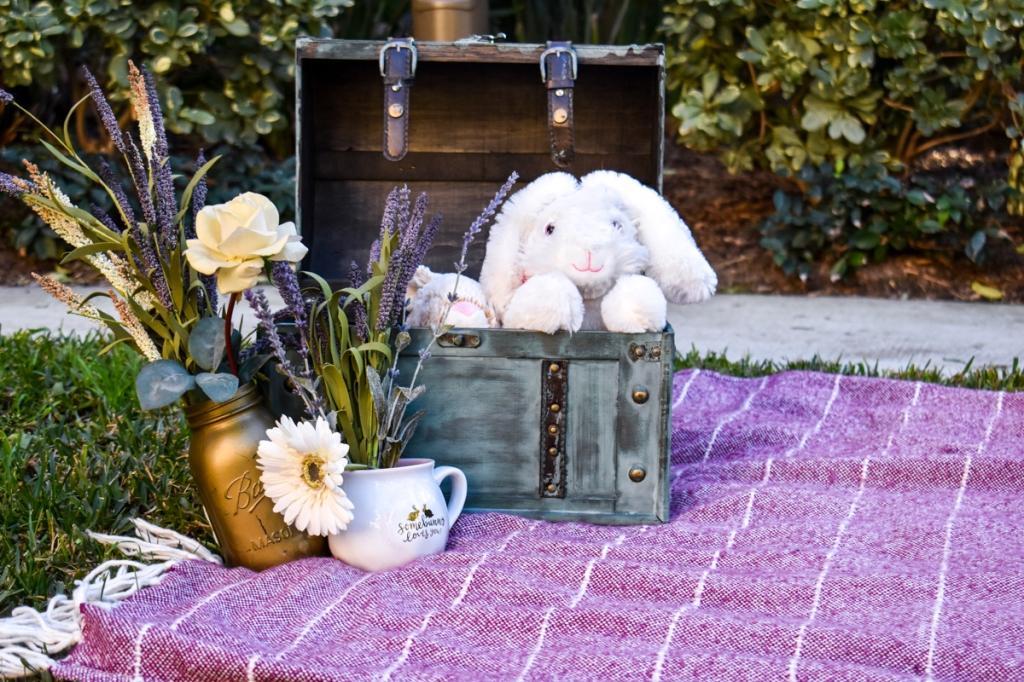 Spring decor on a picnic blanket