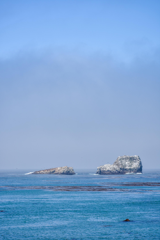 Blue ocean meets blue skies and a fog bank off the coast of San Simeon, California.