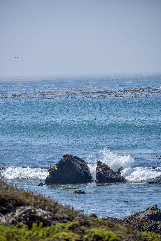 Waves crash into rocks off the coast of San Simeon, California.